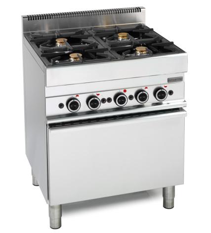 Spis gas 4 brännare, gas ugn dim. 700x650x850 mm