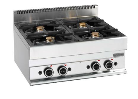 Spis gas 4 brännare bänkmodell dim. 700x650x280 mm