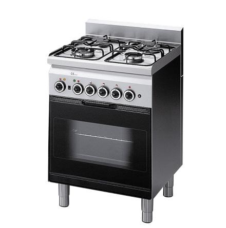 Spis gas 4 brännare gasugn med el grill<br> 600x600x850 mm