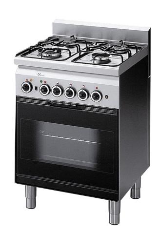 Spis gas 4 brännare gasugn med el grill 600x600x850 mm