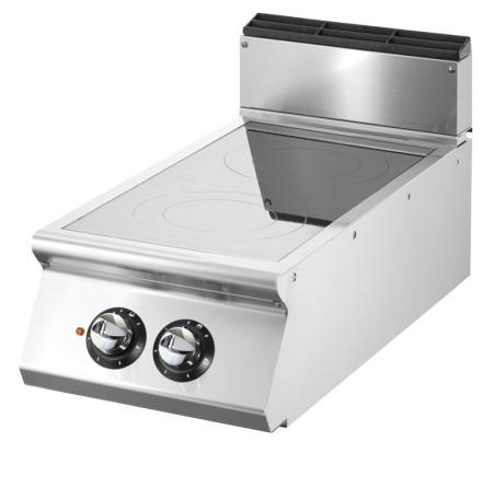 Spis elkeramik bänkmodell 2 kokzoner 6.8 kW dim. 400x900x250 mm