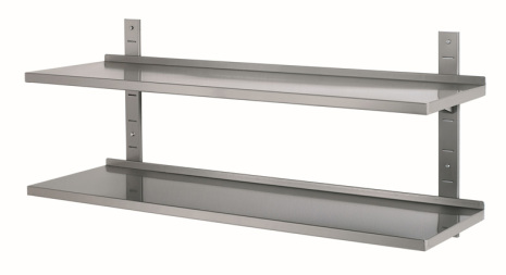 Vägghylla enkel dim. 800x355x27 mm rostfri<br> exkl .väggskenor & konsoler