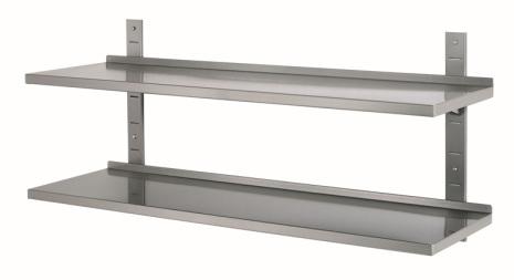 Vägghylla enkel dim. 1600x355x27 mm rostfri<br> exkl. väggskenor & konsoler