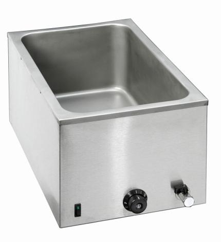 Bartscher vattenbad bänkmodell 1/1 GN-200 mm<br> inkl. avtappningskran, exkl. kantiner