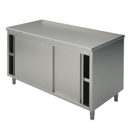 Arbetsbänk skjutdörrar slät toppskiva L=1400 mm rostfri dim.1400x600x850 mm