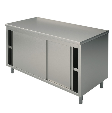 Arbetsbänk skjutdörrar slät toppskiva L=1600 mm rostfri dim. 1600x600x850 mm