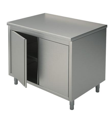Arbetsbänk dörrar slät toppskiva L=800 mm rostfri dim. 800x700x850 mm