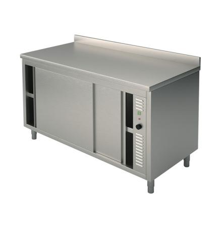 Värmeskåp skjutdörrar slät topp L=1400 mm<br> dim. 1400x600x850 mm