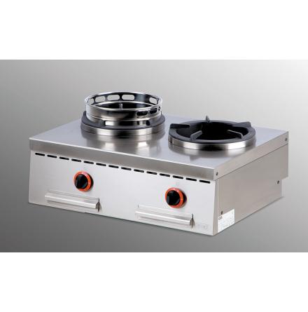 Wokspis bänkmodell 2 brännare 2 x 13 kW dim. 800x600x300 mm