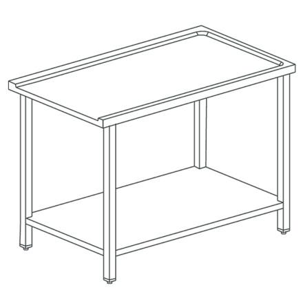 Utmatningsbänk med underhylla L=1500 mm dim. 1500x590x870 mm