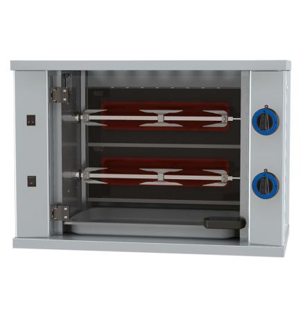 Kycklinggrill belysning 2 spett för 6 kycklingar dim. 800x400x555 mm