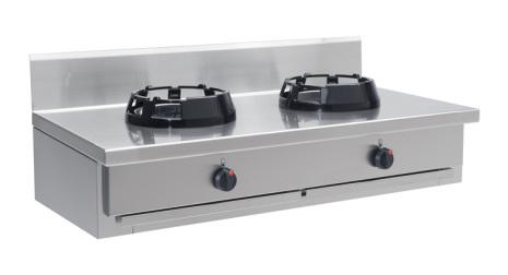 Wokspis bänkmodell 2 brännare 9.5, 14 eller 21 kW dim1000x600x275 mm