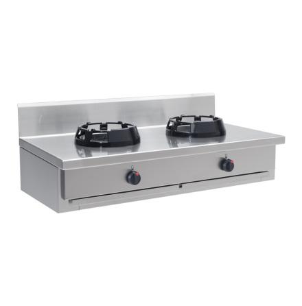 Wokspis bänkmodell 2 brännare 9.5, 14 eller 21 kW dim1000x700x275 mm