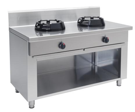 Wokspis 2 brännare 9.5, 14 eller 21 kW dim1000x600x850 mm