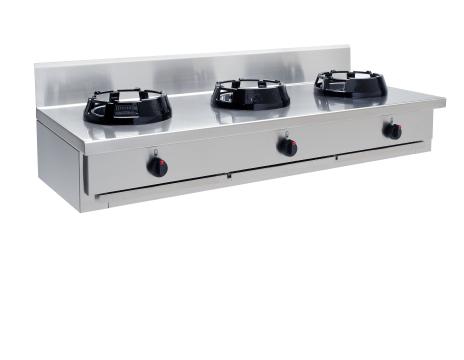 Wokspis 3 brännare 9.5, 14 eller 21 kW dim1500x600x275 mm