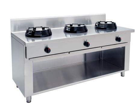 Wokspis 3 brännare 9.5, 14 eller 21 kW dim1500x700x850 mm