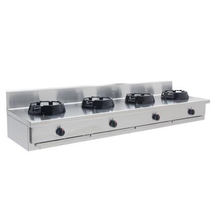 Wokspis 4 brännare 9.5, 14 eller 21 kW dim2000x600x275 mm