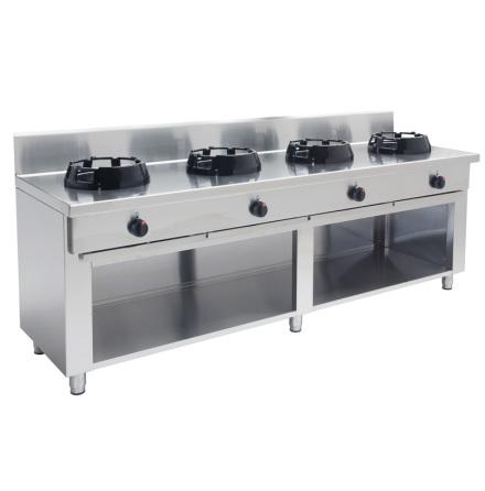 Wokspis 4 brännare 9.5, 14 eller 21 kW dim2000x600x850 mm