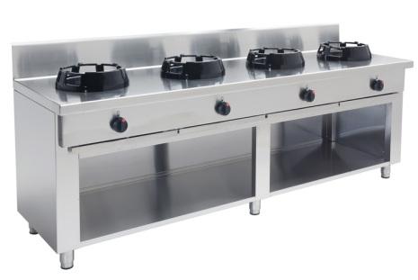 Wokspis 4 brännare 9.5, 14 eller 21 kW dim2000x700x850 mm