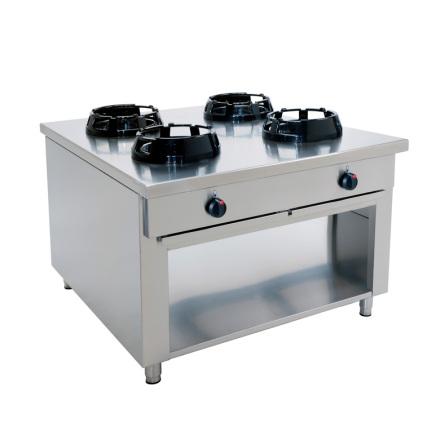 Wokspis 4 brännare 9.5, 14 eller 21 kW dim1000x1000x850 mm