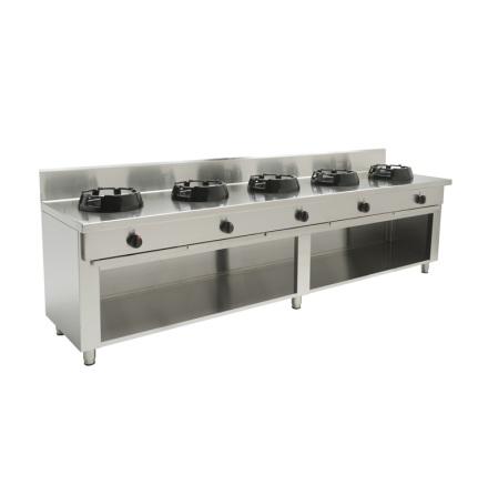 Wokspis 5 brännare 9.5, 14 eller 21 kW dim 2500x700x850 mm