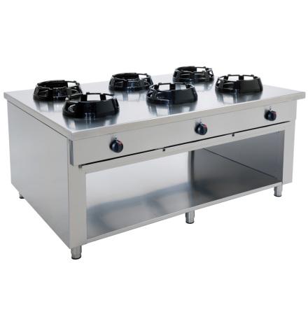 Wokspis 6 brännare 9.5, 14 eller 21 kW dim 1500x1000x850 mm