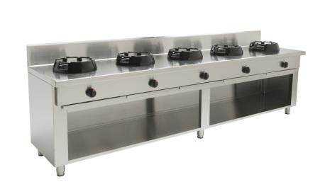 Wokspis 5 brännare 9.5, 14 eller 21 kW dim 2500x600x850 mm