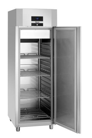 Frysskåp lågenergi 700 liter rostfritt GN 2/1<br> inkl. 4 st hyllor Bartscher