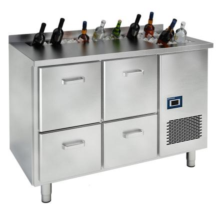 Barkylbänk med 4 draglådor för öl/vin <br> spritränna & islåda