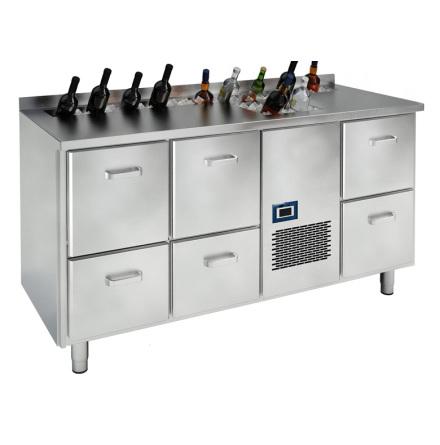 Barkylbänk med 6 draglådor för öl/vin <br> spritränna & islåda
