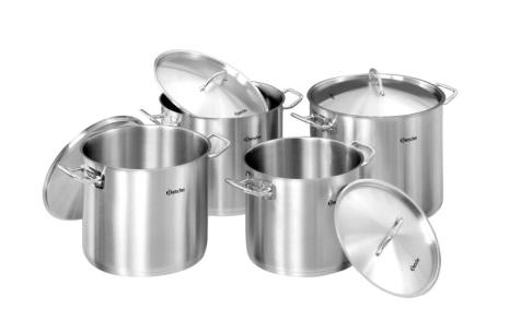 Bartscher kittel/kastrull set 4 kittlar med lock för induktion, gas, el