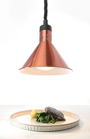 Gastroshop värmelampa med hiss koppar<br> inkl. vit lampa, sladd 700-1500 mm