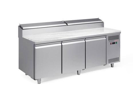 Pizzakyl 3 dörrar bakplåt (45x60) Gastroshop<br> kylränna med statisk kylning GN 1/6